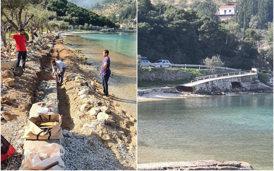 Ιθάκη: Ξεκίνησε η επισκευή της παραλίας Δεξά μετά την καταστροφή που υπέστη από τον «Ιανό»