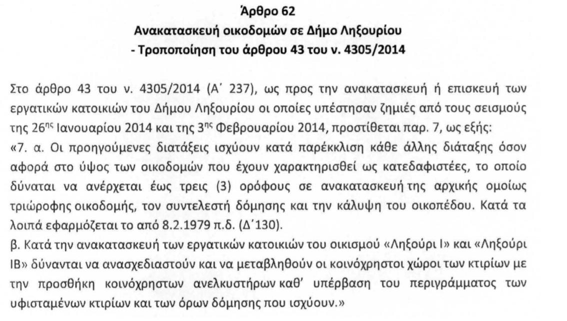 Στη Βουλή η ρύθμιση για την ανακατασκευή των εργατικών κατοικιών Ληξουρίου