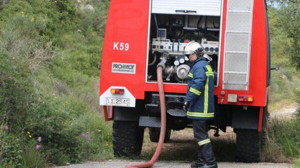 Φωτιά μικρής έκτασης στο δρόμο της Κρανιάς – Άμεση επέμβαση της πυροσβεστικής